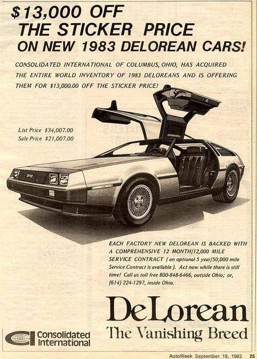 DeLorean vanishing breed Consolidated International Advertisement in Auto Week Magazine September 19, 1983.